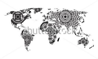Vinilo Mapa del mundo de Mandala Vector