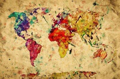 Vinilo Mapa del mundo del vintage. Colorido de la pintura, acuarela sobre papel grunge