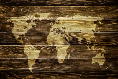 Vinilo Mapa del mundo en el fondo de madera