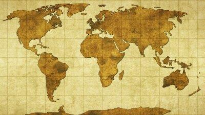 Vinilo mapa del mundo en el papel viejo