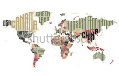 Vinilo Mapa del mundo hecho de nombres tipográficos de países. Ilustracion vectorial