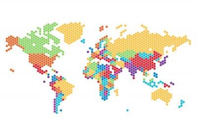 Vinilo Mapa del mundo punteada de puntos hexagonales