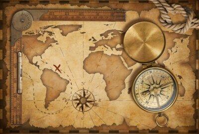 Vinilo mapa del tesoro edad, regla, cuerda y compás de latón antiguo con tapa