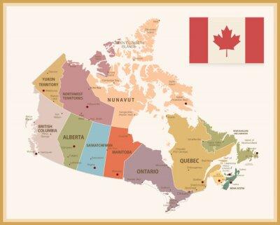 Vinilo Mapa del vintage de Canadá con la bandera