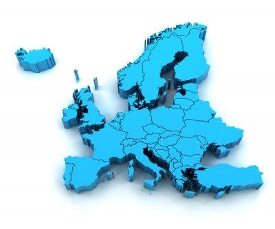 Vinilo Mapa detallado de Europa con las fronteras nacionales