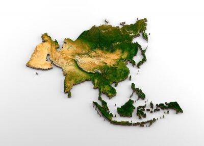Vinilo Mapa extruido 3D realista del continente asiático (incluido el subcontinente indio, Asia oriental, Rusia y Oriente Medio)