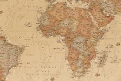 Vinilo Mapa geográfico antiguo de África con los nombres de los países.