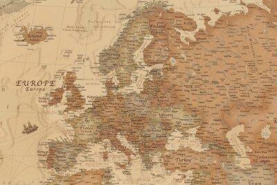 Vinilo Mapa geográfico antiguo de Europa con los nombres de los países.