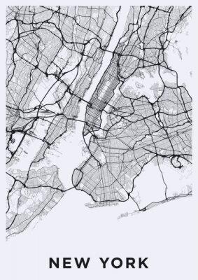 Vinilo Mapa ligero de la ciudad de Nueva York. Mapa de carreteras de Nueva York (Estados Unidos). Ilustración en blanco y negro (luz) de las calles de nueva york. Red de transportes de la gran manzana.
