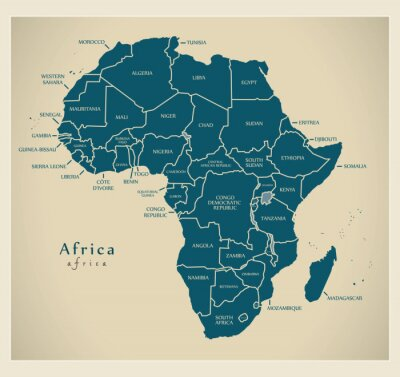 Vinilo Mapa moderno - continente africano con etiquetas de país