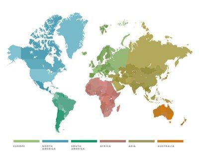 Vinilo Mapa mundial con continente en diferentes colores