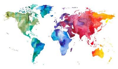 Vinilo Mapa mundial de acuarela
