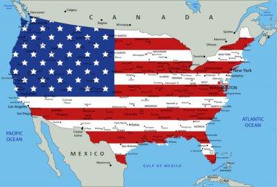 Vinilo Mapa político altamente detallado de los Estados Unidos de América con la bandera nacional.