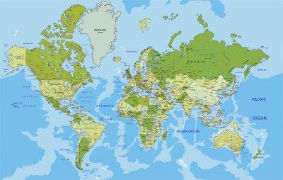 Vinilo Mapa político altamente detallado del mundo con el etiquetado.