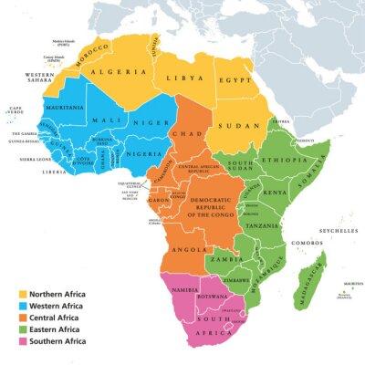 Vinilo Mapa político de las regiones de África con países individuales. Geoscheme de las Naciones Unidas. África septentrional, occidental, central, oriental y meridional en diferentes colores. Etiquetado en