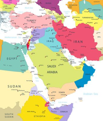 Vinilo Mapa político de Oriente Medio y Asia aislado en blanco