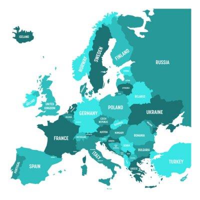 Vinilo Mapa político del continente de Europa en cuatro tonos de azul turquesa con etiquetas de nombre de país blanco y aislado sobre fondo blanco. Ilustración vectorial