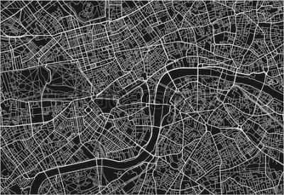 Vinilo Mapa vectorial blanco y negro de la ciudad de Londres con capas separadas bien organizadas.