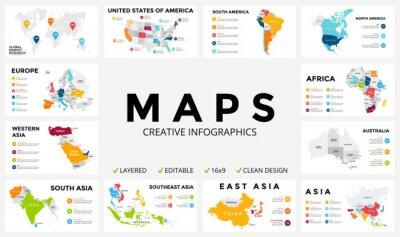 Vinilo Mapa vectorial infográfico. Presentación de diapositivas. Concepto de marketing global de negocios. Color del país. Datos de geografía del transporte mundial. Plantilla de estadística económica. Mundo