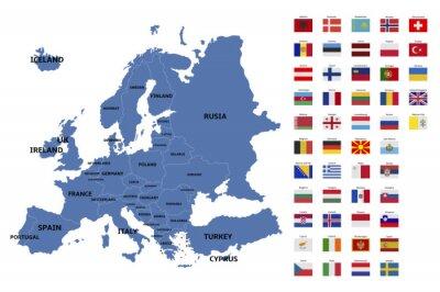Vinilo Mapa y banderas de europa
