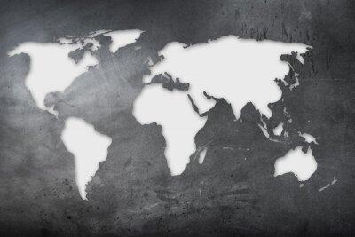 Vinilo Mappa mondiale su lavagna