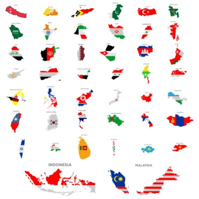 Vinilo maps of country in continent asia icon set vector design symbol