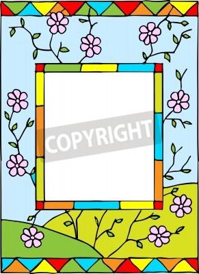 Vinilo Marco con flores de primavera. Estilizados vidrieras. Ilustración del vector.