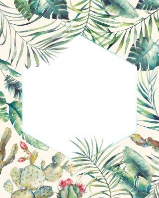 Vinilo Marco de plantas tropicales de hexágono. Mano dibuja la tarjeta de verano con cactus, ramas exóticas, hojas de plátano, palmera. Saludo o plantilla de logotipo.