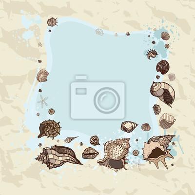 Marco del verano de conchas marinas. vinilos para portátiles ...