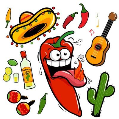 Vinilo Mariachi icono de la colección de chile mexicano.