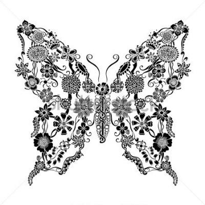Vinilo Mariposa adornada decorativa del doodle floral, elementos de notificación floral monocromo para scrapbook, invitación o diseño de tarjeta de felicitación