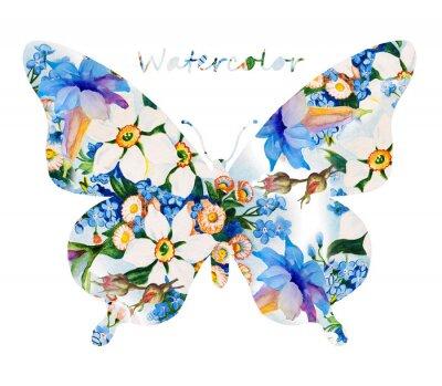 Vinilo Mariposa colorida sobre fondo blanco