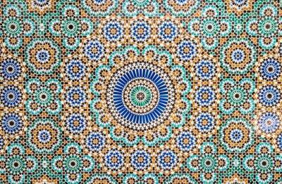 Vinilo Marroquí cosecha de azulejos de fondo