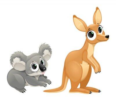 Vinilo Marsupiales divertidos, koala y canguro