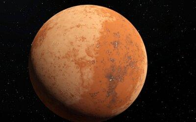 Vinilo Marte ilustración científica - paisaje planetario