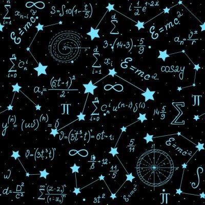 Vinilo Matemáticas vector astrofísico patrón sin fisuras con fórmulas, cifras y cálculos a mano sobre el fondo de las estrellas. Espacio científico textura sin fin