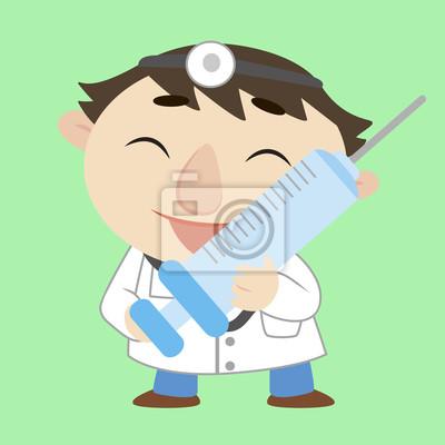 Médico De Dibujos Animados Con Una Jeringa Vinilos Para