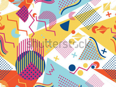 Vinilo Memphis seamless pattern. Geometric elements memphis in the style of 80's. Vector illustration.