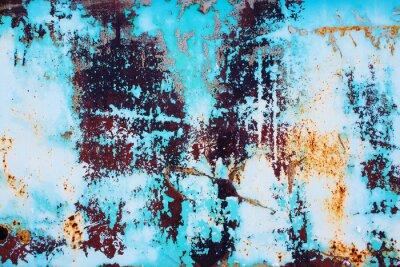 Vinilo Metal oxidado con la pintura azul agrietada. Color de fondo de la superficie de hierro oxidado con una pintura de color azul brillante pelado y agrietado textura