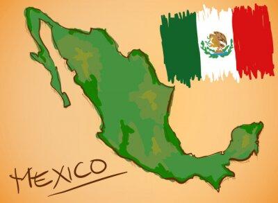 Vinilo México Mapa y Bandera Nacional vectorial