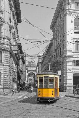 Vinilo Milano con el tranvía en Piazza Cordusio e sfondo Galleria Vittorio Emanuele lombardia italia