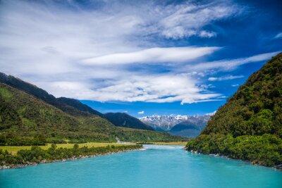 Vinilo Milky agua glacial azul del río Whataroa en Nueva Zelanda