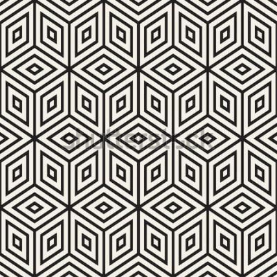 Vinilo Moda monocromo línea enrejado. Diseño de fondo geométrico abstracto. Vector sin patrón blanco y negro.