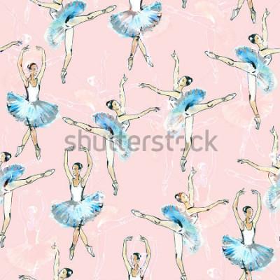 Vinilo Modelo aislado del dibujo de los bailarines de ballet, del negro, blanco y de plata, pintura de la acuarela, aislado en fondo rosado.