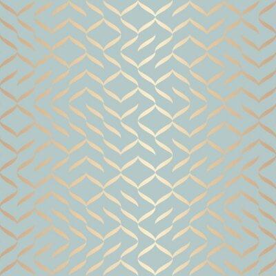 Vinilo Modelo de oro geométrico inconsútil del elemento del vector. Textura abstracta del cobre del fondo en verde azul. Impresión gráfica minimalista simple. Rejilla de enrejado turquesa moderna. Diseño de