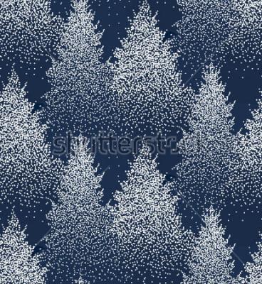 Vinilo Modelo específicamente del invierno con los abetos y los pinos en nieve. Bosque de coníferas. Decoración navideña. Ilustración vectorial