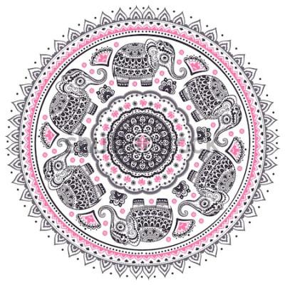 Vinilo Modelo étnico lindo del mandala del elefante del loto indio del vector gráfico del vector. Adorno tribal africano. Puede ser utilizado para un libro para colorear, textiles, impresiones, caja del telé