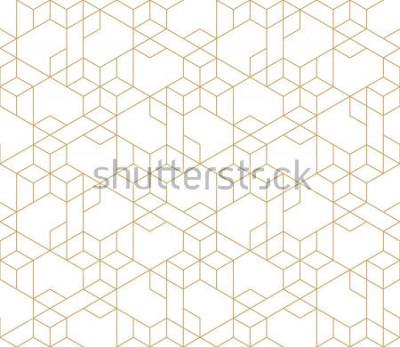 Vinilo Modelo geométrico abstracto con cruzar líneas de oro finas en el fondo blanco. Relación lineal sin problemas. Textura elegante del fractal. Vector patrón para rellenar el fondo, grabado láser y corte.