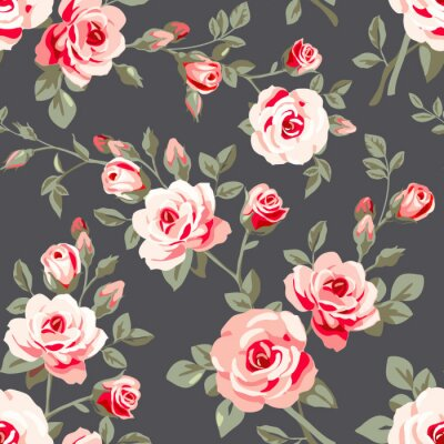 Vinilo Modelo inconsútil con las rosas de color rosa