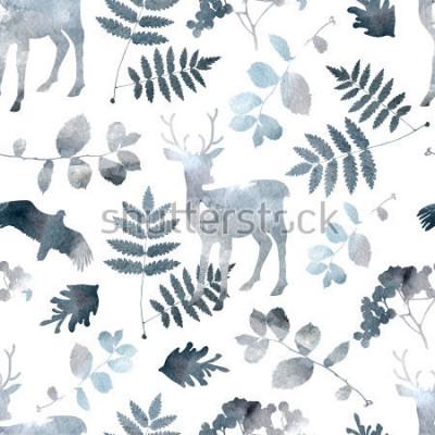 Vinilo Modelo inconsútil del bosque norteño con ciervos, aves, elementos de la hoja. Dibujado a mano acuarela